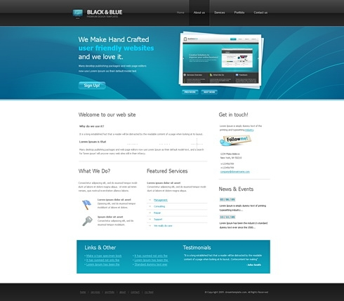 Template Image for BlacknBlue - HTML Template