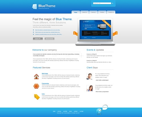 Template Image for BlueTheme - Website Template