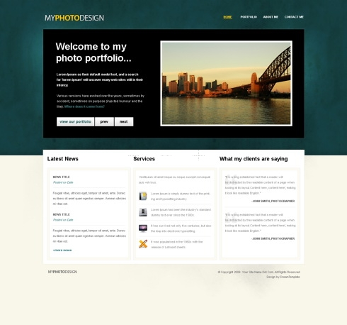 Template Image for PhotoDesign - Website Template