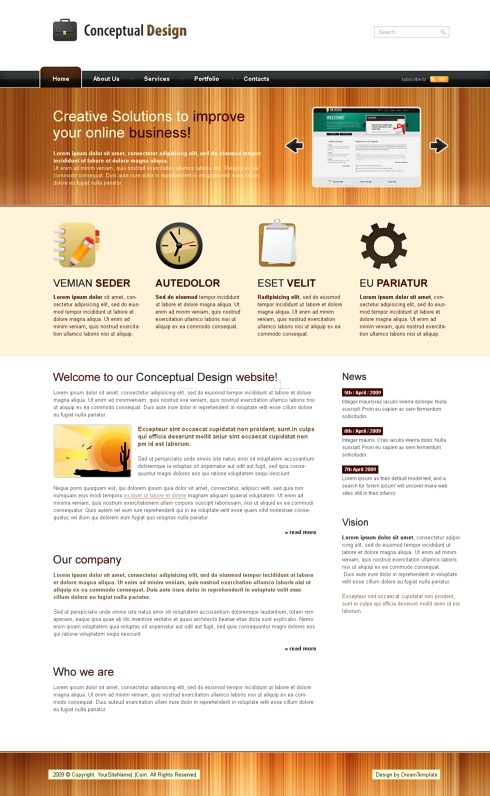 Template Image for ConceptualWood - HTML Template