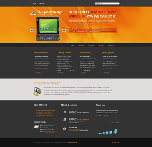 Template Image for OrangeShine - Website Template