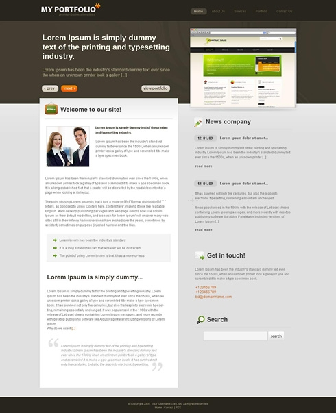 Template Image for GrayPortfolio - CSS Template