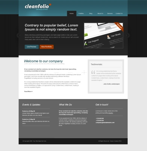 Template Image for CleanFolio - Website Template